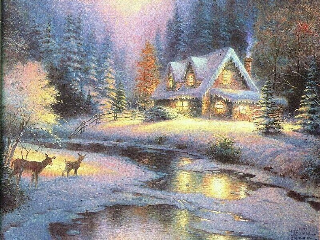 previous winter scenes wallpaper christmas art 09