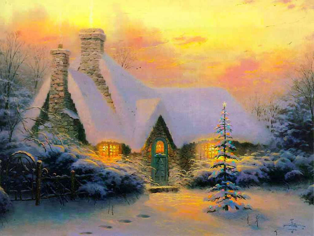 previous winter scenes wallpaper christmas tree cottage