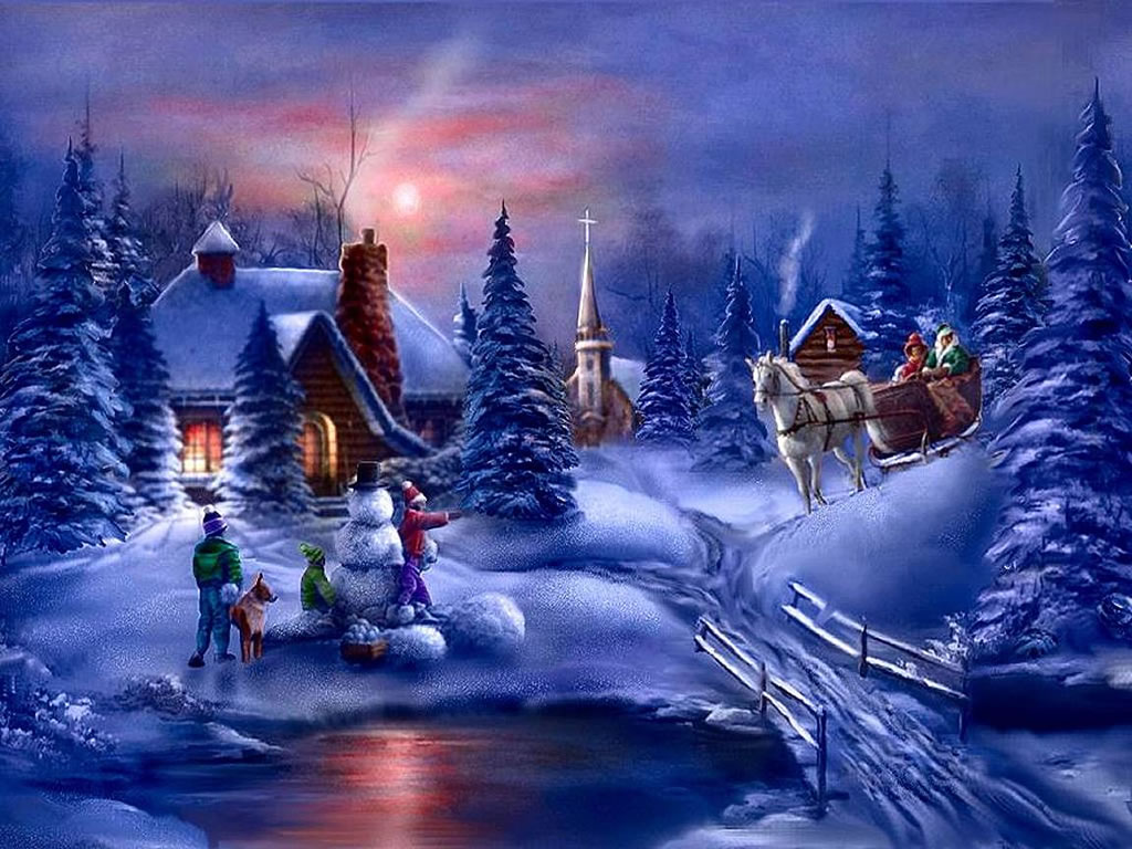 Winter Fun - christmas winter scenes wallpaper image