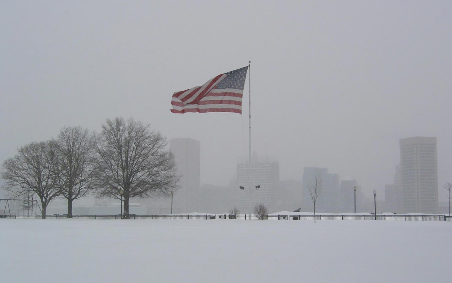 American Flag In Winter