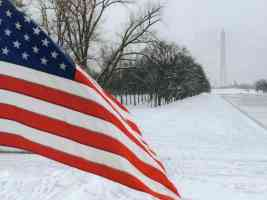 american flag in washington in winter