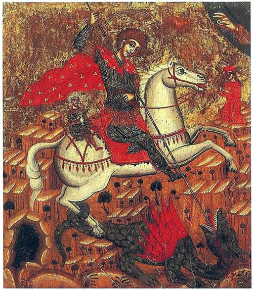 Medieval Eastern European Painting Of St George And The Dragon