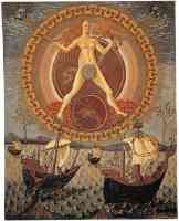 15th century painting of sun and moon guiding ships