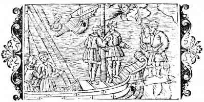 16th century woodcut of sailers using nodi witch knots for raising wind