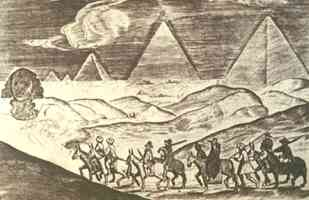 european travellers at the giza pyramids and sphinx in 1610