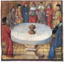 medieval round table with knights and holy grail