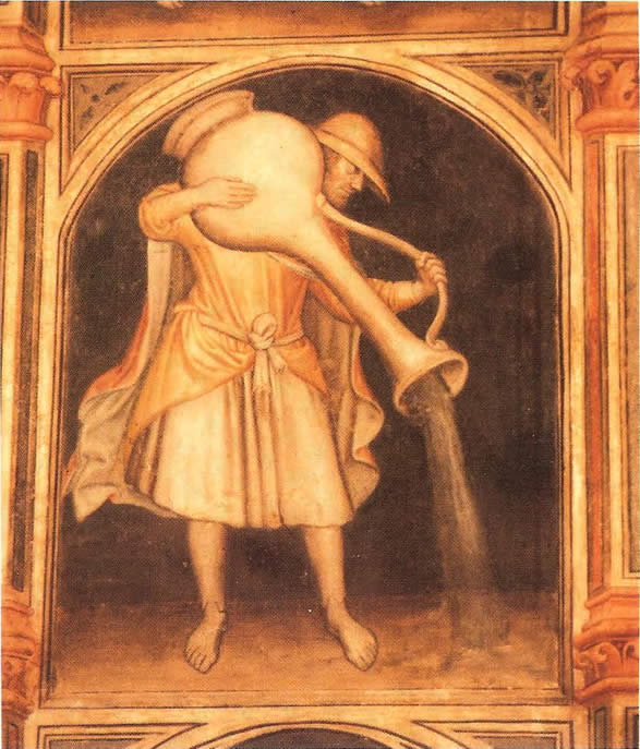 Aquarius The Water Bearer From 15th Century Astrological Fresco