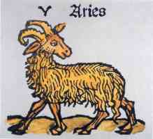 hand coloured woodcut of aries the ram