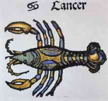 woodcut of cancer as a crayfish