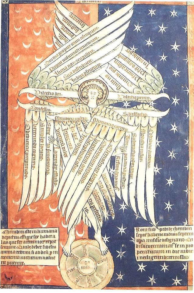 13th Century Drawing Of Six Winged Cherub