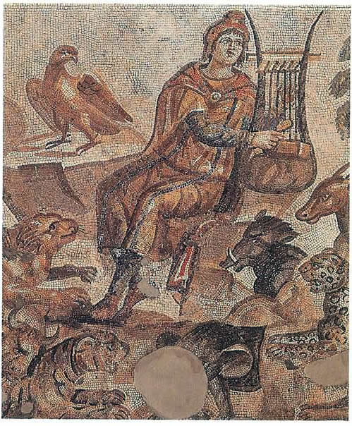 Mosaic Of Orpheus Charming Animals Playing His Lyre - Gods ...