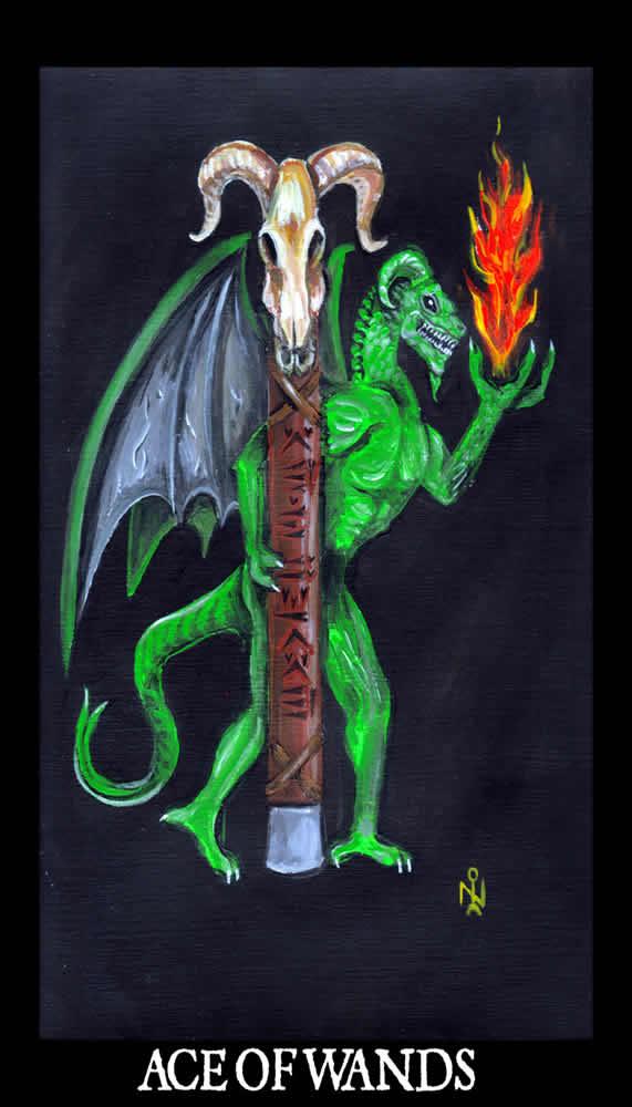 Ace Of Wands Luciferian Tarot Cards Wallpaper