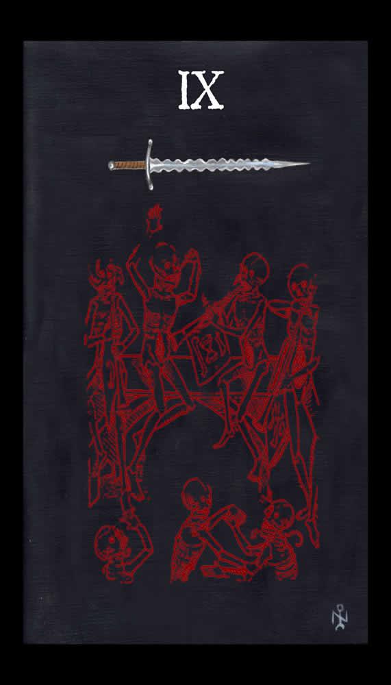 Nine Of Swords Luciferian Tarot Cards Wallpaper