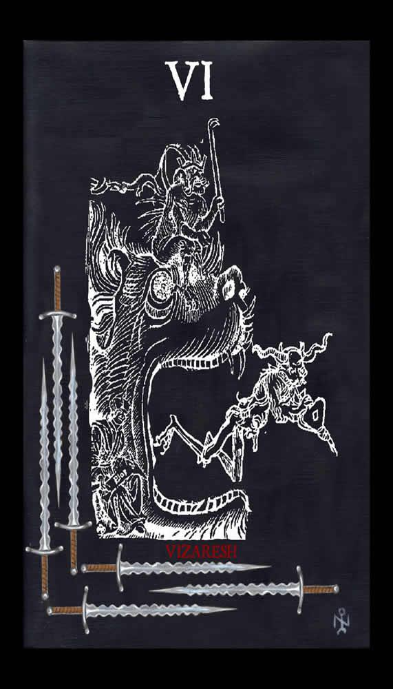 Six Of Swords Luciferian Tarot Cards Wallpaper