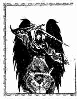 andras the humaoid raven riding the black wolf