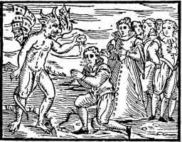 woodcut of the devil baptizing witches
