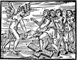 woodcut of the devil ordering witches to trample on the cross