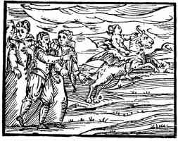 woodcut of witches riding to the sabbat