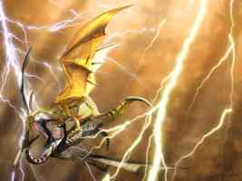 fighting dragons in lightning