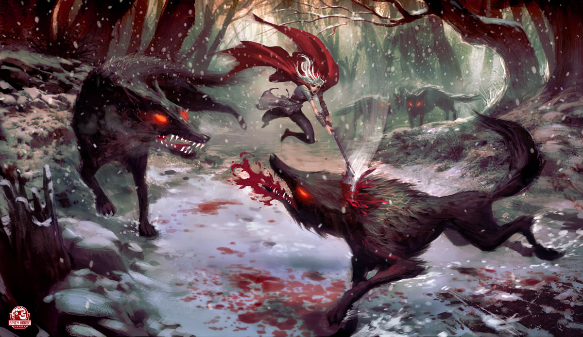 Little Red Riding Hood Fights Back - fantasy fairy tales wallpaper