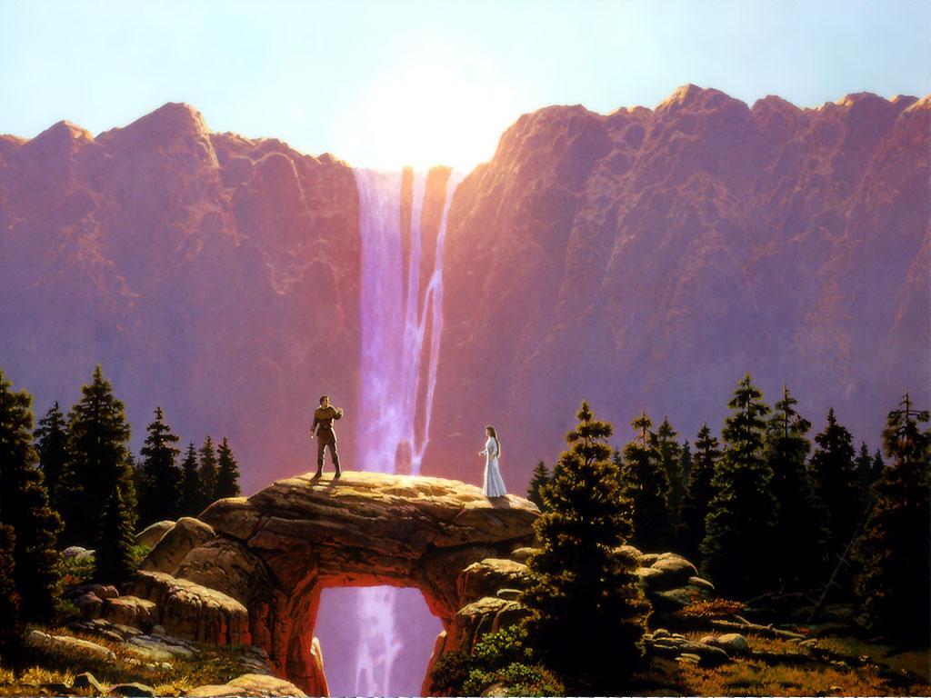 Meeting on waterfall bridge fantasy landscapes - Fantasy wallpaper bridge ...