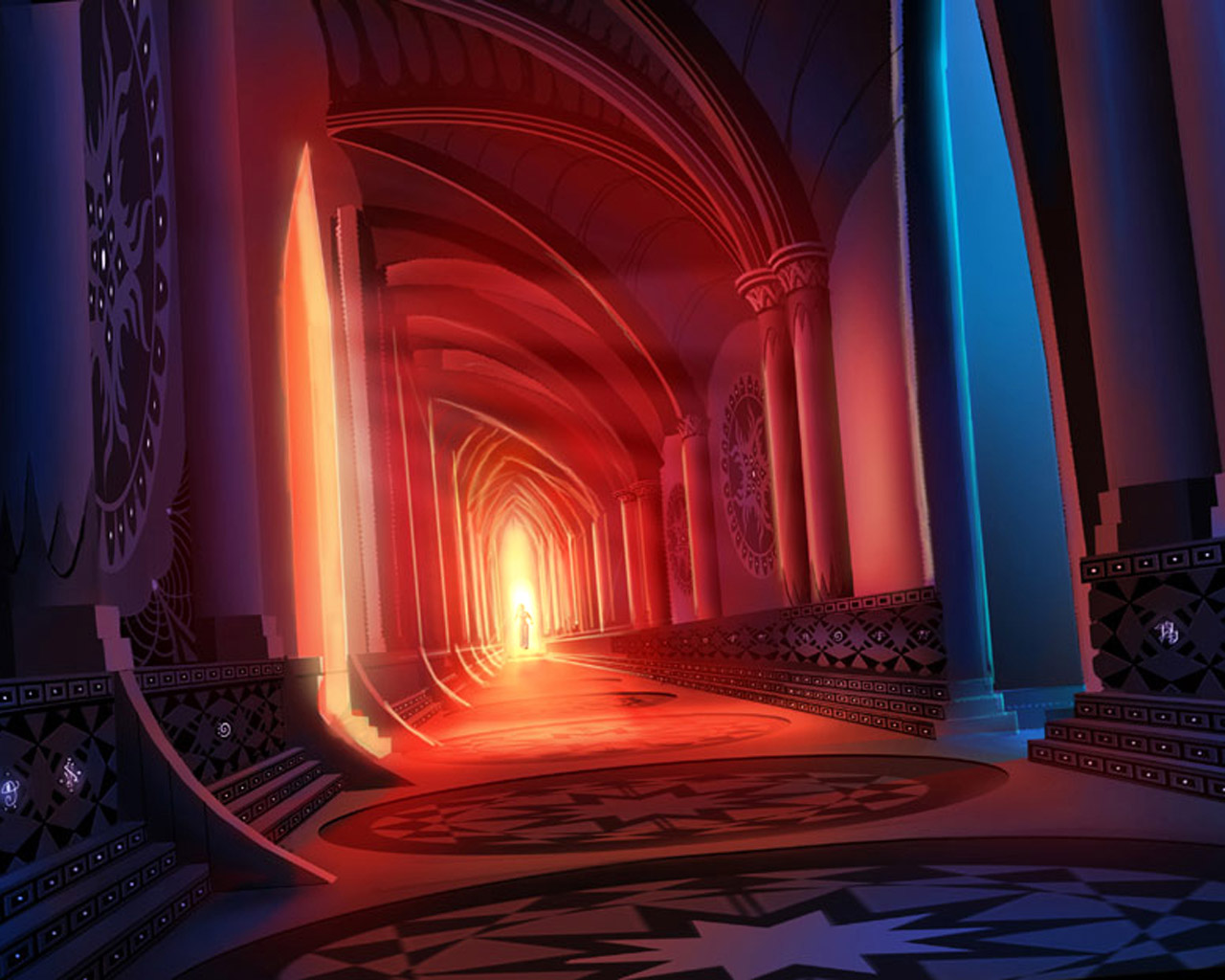 Red Glowing Hallway