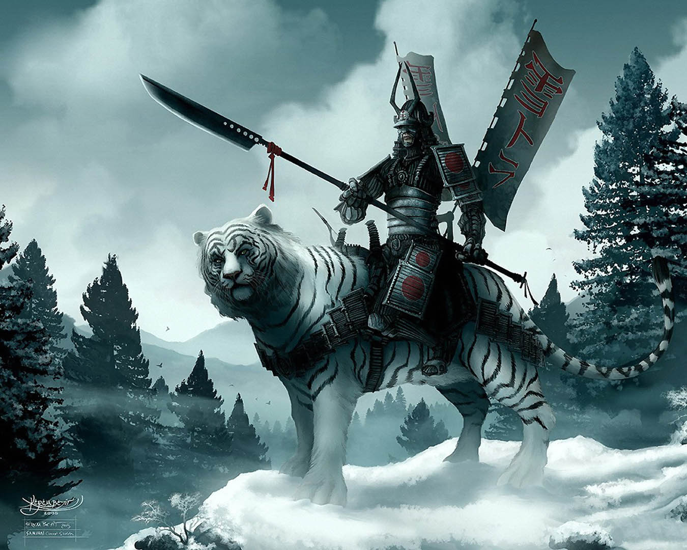 Japanese Warrior Mounted On Snow Tiger - Fantasy Monsters Wallpaper ...