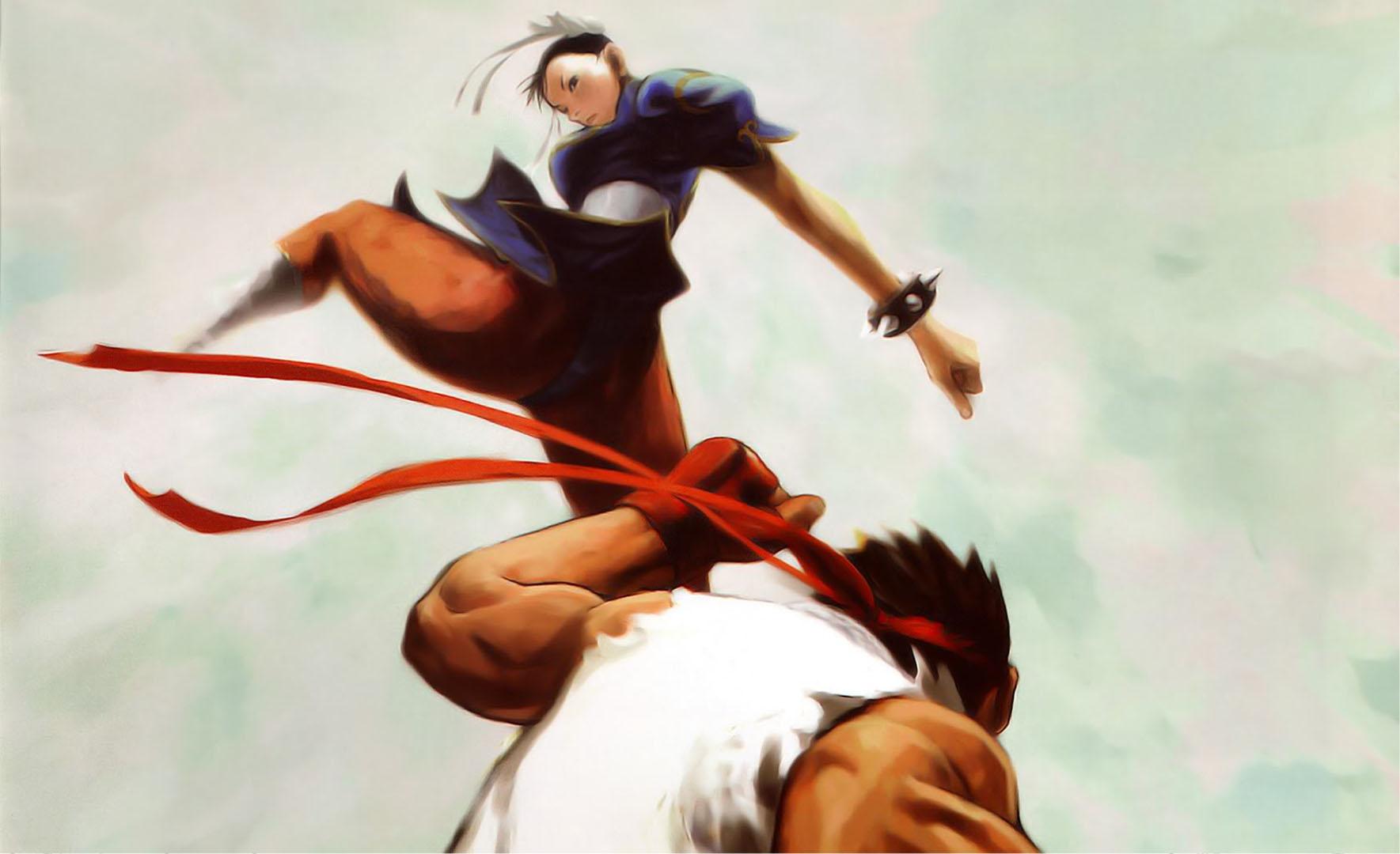 Chun Li Flying Kick Street Fighter 2 Wallpaper