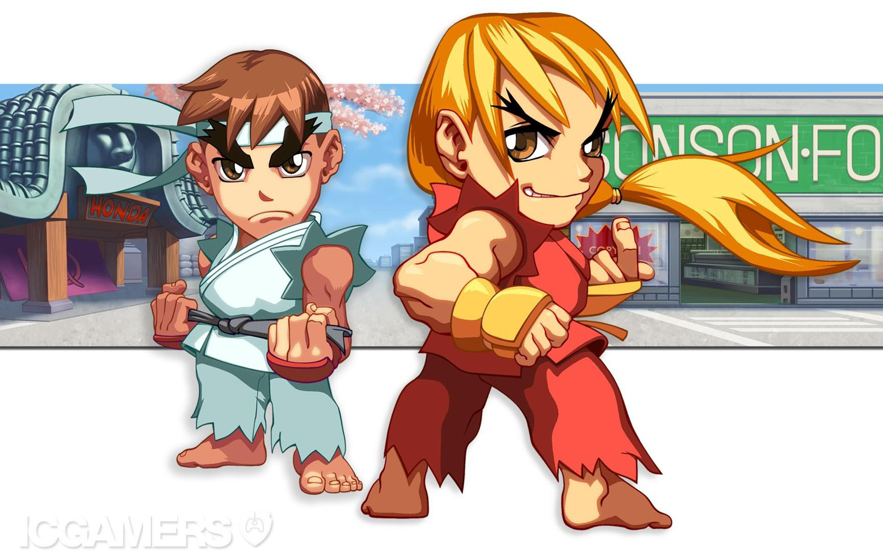 Lil Ken And Ryu Street Fighter 2 Wallpaper