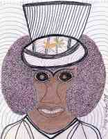 portrait of woman with afro and hat