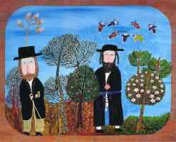 two hassidic jews in the garden with fairies