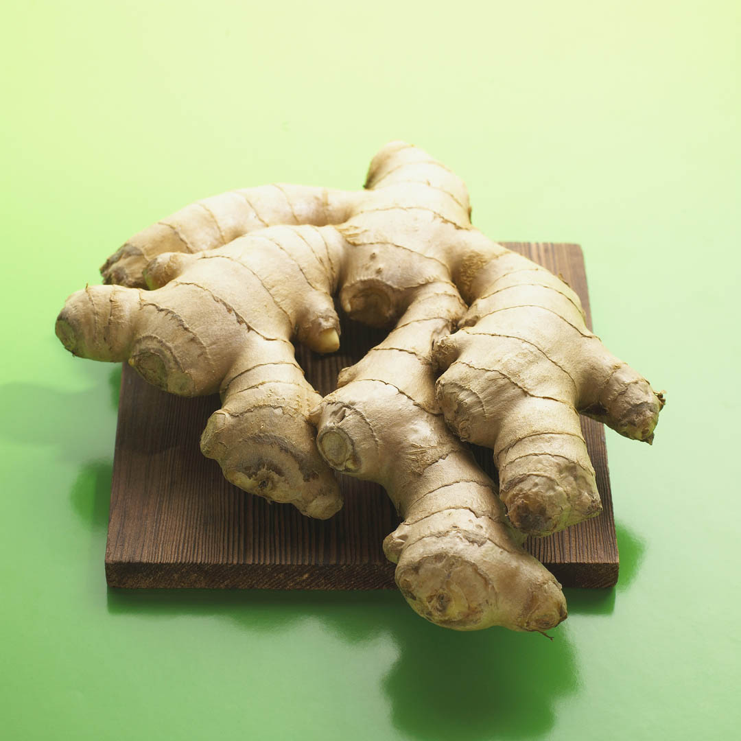 Root Ginger On A Cutting Board