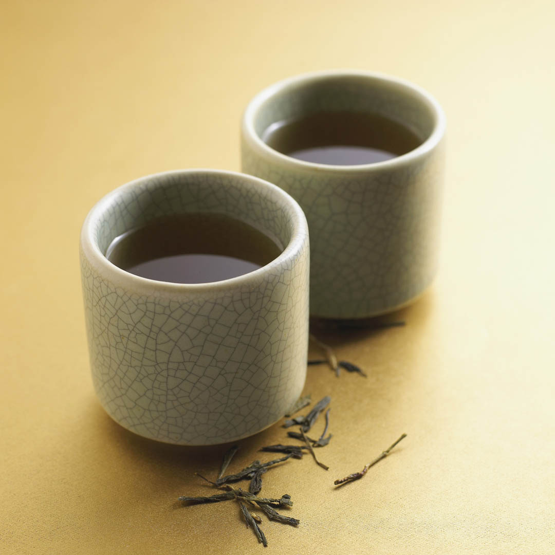 Green Tea Leaves And Cups