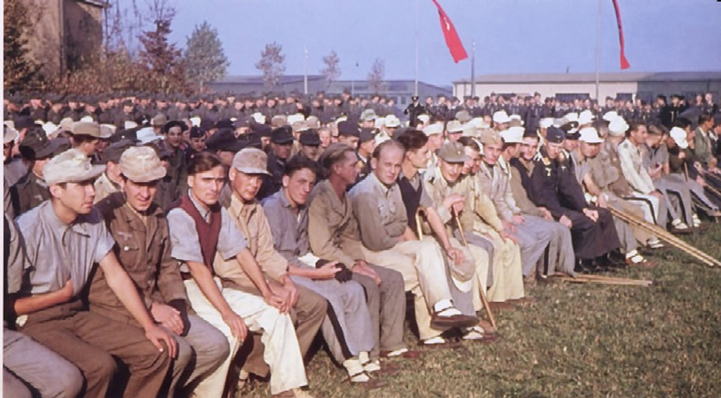 Allied Propaganda Picture Of German POWs In US Camp