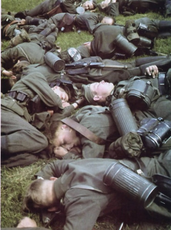 Exhausted German Soldiers During A Lull