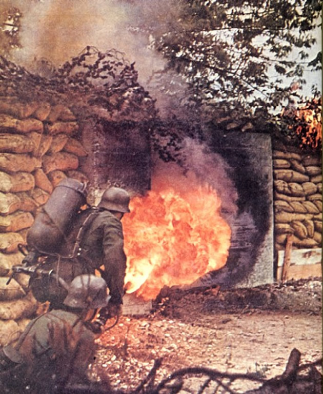 Flame Thrower In Action Against An Enemy Dugout