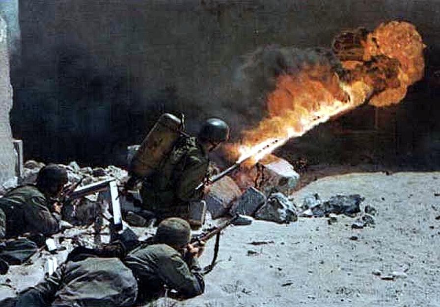 flamethrower in urban warfare german world war 2 colour