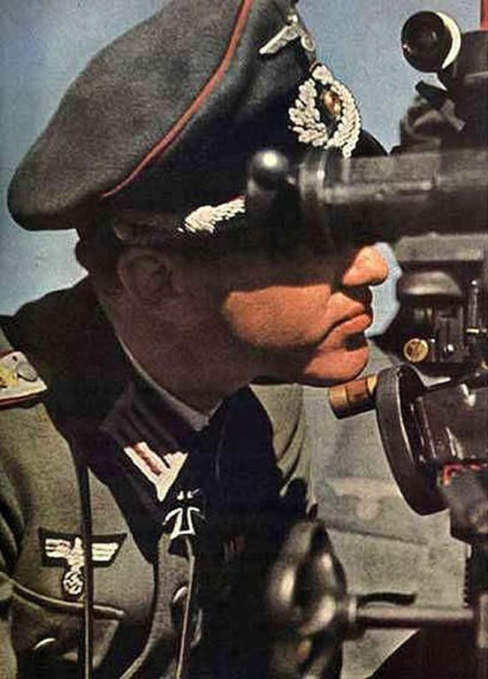 Artillery Officer Observing Enemy Movements Through A Telescope