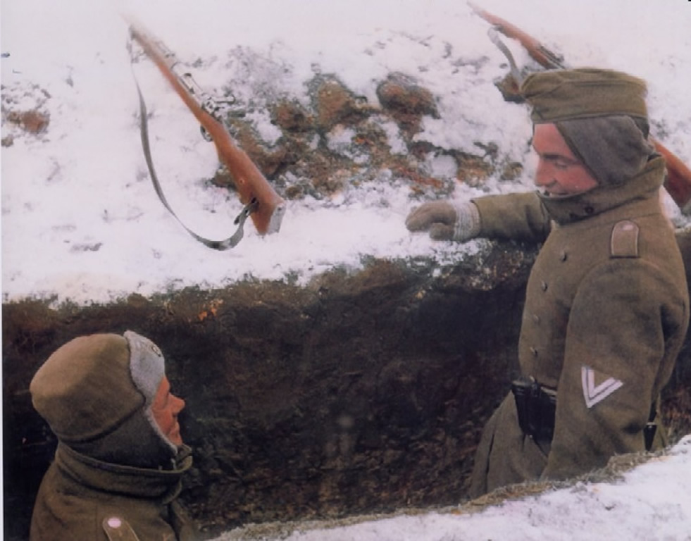 Soldiers Durring A Lull In Fighting In The Cold Russian Winter