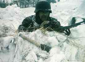 German soldier in Russia Waiting for the enemy