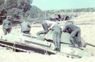 German soldiers inspect downed T 3476
