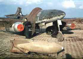 Messerschmidt Me 262 with camouflage on airfield