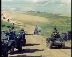 Panzer 38t armoured cars travelling in Russia