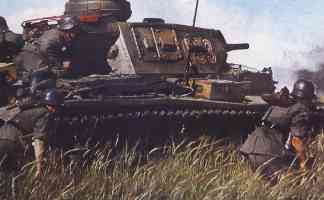 Panzer III tank and infantry attack