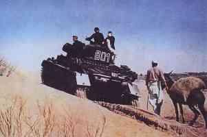 Panzer IV tanks of the Afrika Korps in the desert