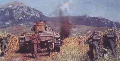 Protection of an armored infantry of panzer tanks