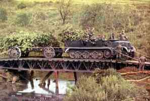 SdKfz 8 used as a tractor over a bridge