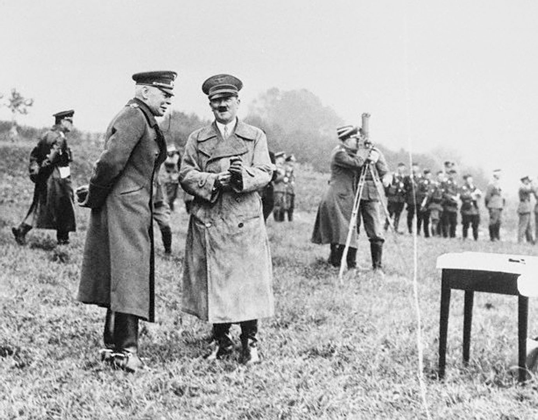 Chancellor Hitler And General Von Seekt Watching Army Maneuvers In Oct 1936