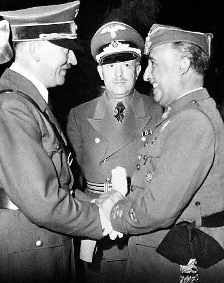General Franco Of Spain And Adolf Hitler Shake Hands  On The French Spanish Border In 1940