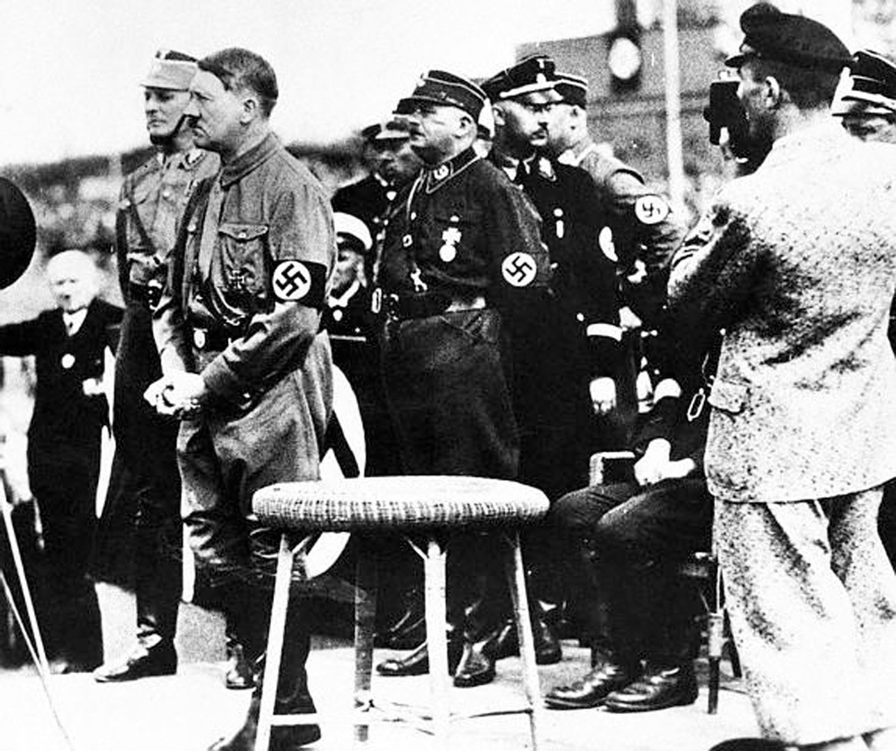 Hitler Addressing Nazi Units In 1933 With Captains And Brown Shirt Chiefs Roehm And Himmler